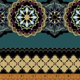 Grand Illusion Medallion Stripe Teal Zlatotisk