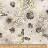 Pressed Butterfly Floral Light Gray - metalická