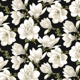 Magnolia Blooms Allover Black/Cream