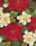 Metallic Red & White Poinsettas - metalická