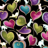 Cat-I-tude Hearts and Cats Black Multi