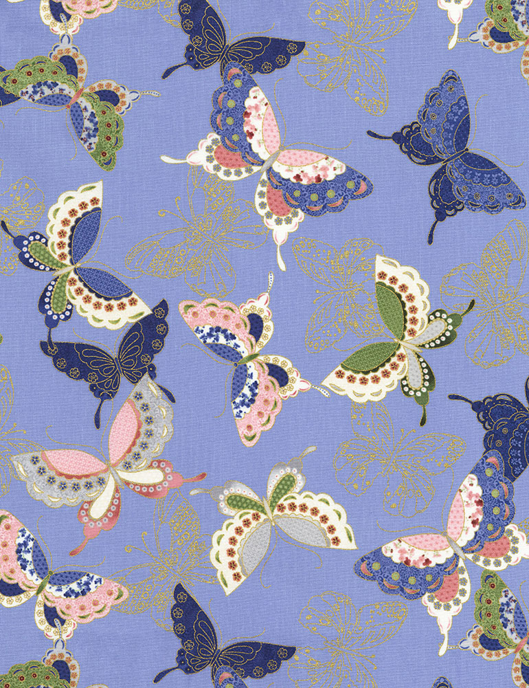Sakura Quilted Butterflies Blue