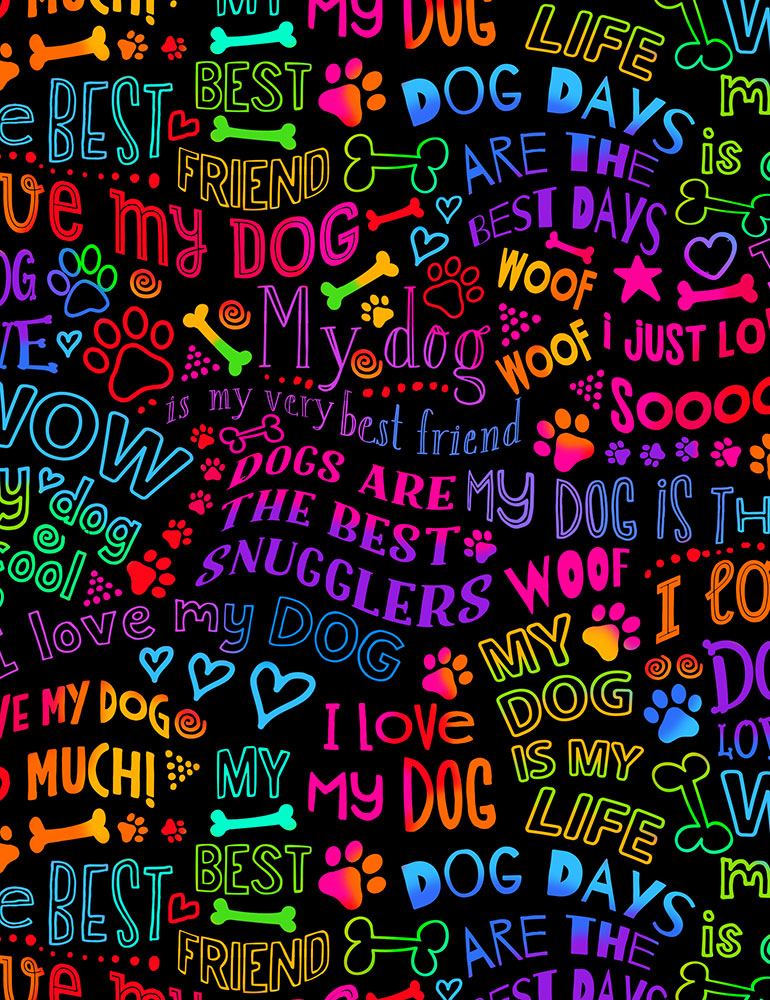 Dog Best Friend Rainbow Writing