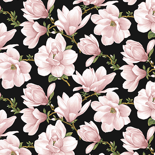 Magnolia Blooms Allover Black/Coral