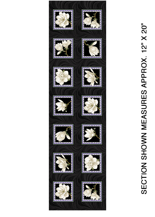 Magnolia Blooms Block Panel Black/Cream