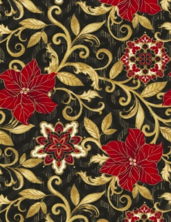 Poinsettia Scroll Allover