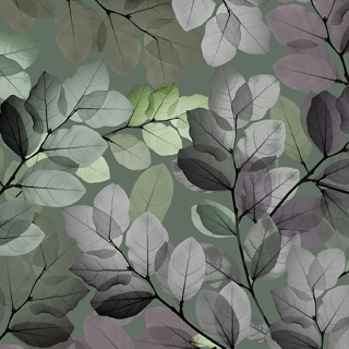 Sheer Leaves Green - perleťová