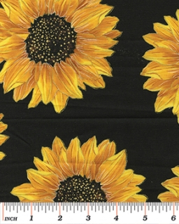 Spaced Sunflowers Black - metalická