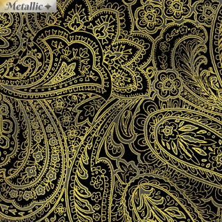 Radiant Paisley Black Gold