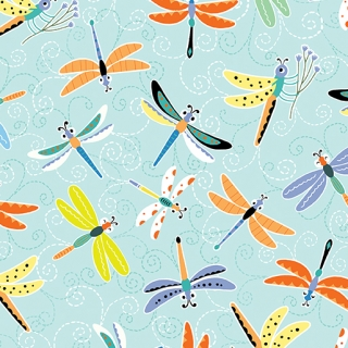 Happy Dragonflies Aqua