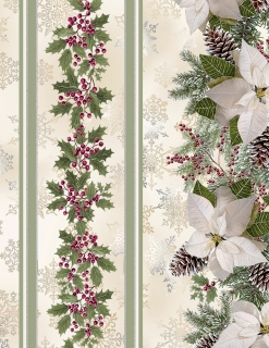 "Cream Holly Poinsettia Pine 11"" Stripe - metalická"