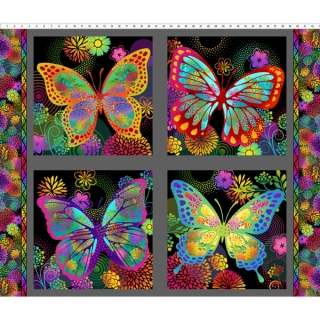 Unusual Garden II - Butterfly Panel Multi Black 91 x 110 CM