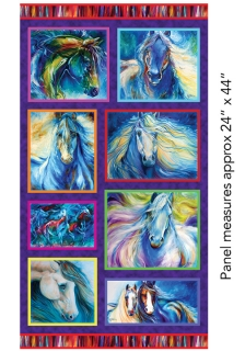 Painted Horses Panel Multi - 61 x 110 cm