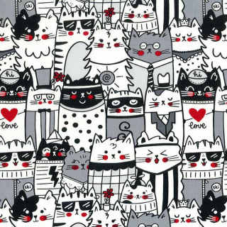Packed Outline Cats White