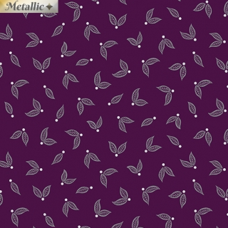 Jubilee Silver Little Leaves Plum - metalická