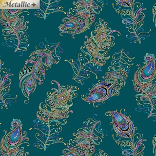 Floating Feathers Small Dark Teal Multi